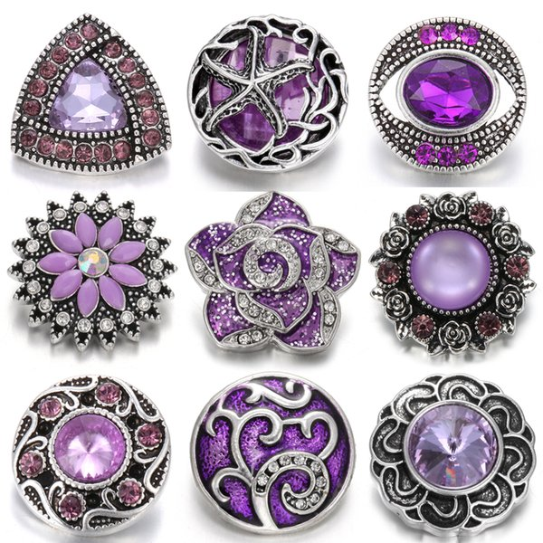 High Quality Snap Button Jewelry DIY Crystal Rhinestone Flower Noosa Wholesale 18mm Metal Snap Buttons Chunk Fit Snap Bracelet Bangle