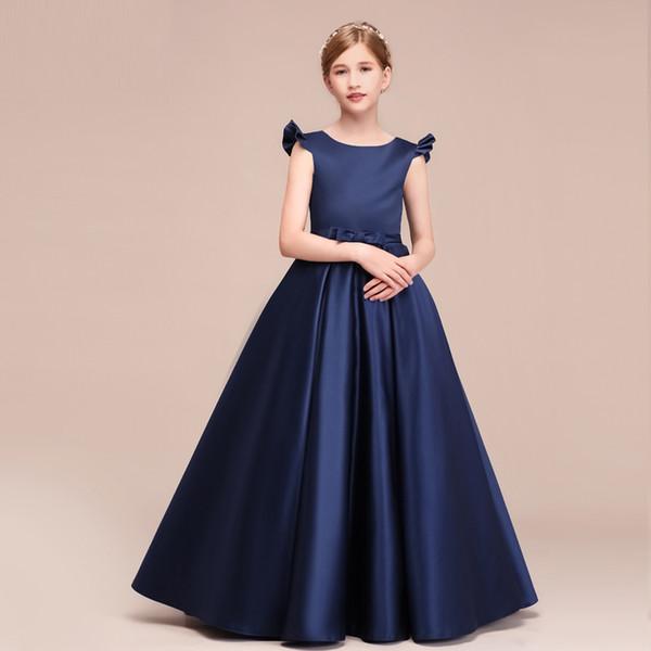 Compre último Diseño Mangas Para Niños Azul Marino Vestido De Fiesta De Cumpleaños Una Línea De Diseño Vestidos De Niña De Flores Gratis Por Encargo A