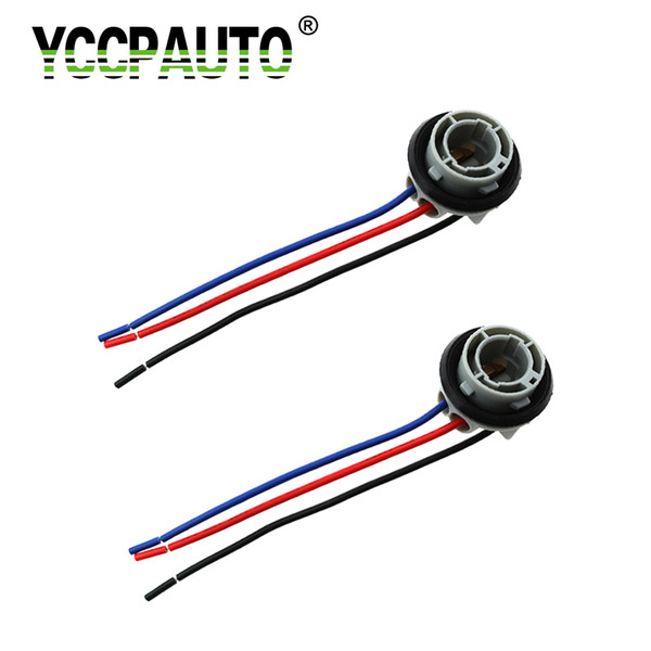 Base HYZHAUTO ba15s ba15d p21w p21 / 5w Socket Holder Adaptador Conector del arnés 1156 1157 Luces Extender el cableado 2PCS