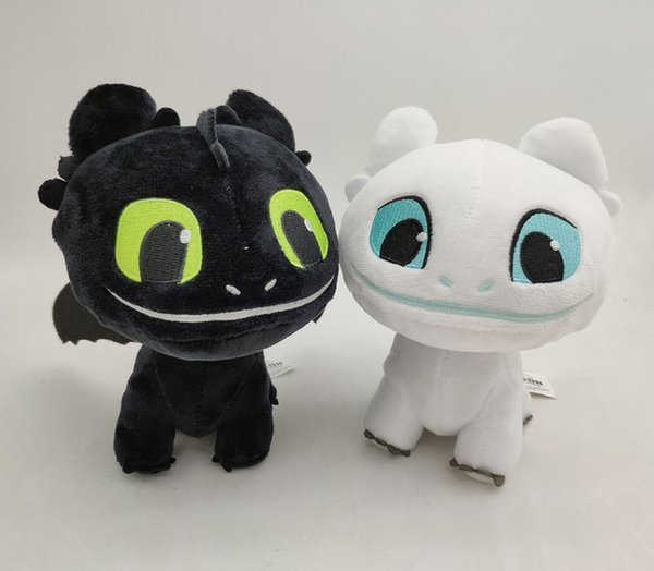 16cm (6.3 inch) How to Train Your Dragon 3 Plush Toy Toothless Light Fury Soft Dragon Stuffed Animals Doll 2019 New Movie 2 Colors EMS C6388