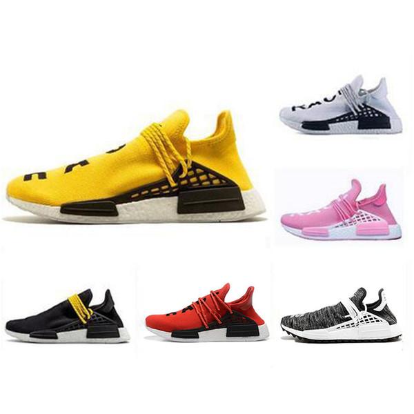 the best attitude 8e179 fa829 2019 2019 NMD Human Race Trail Running Shoes Men Women Pharrell Williams HU  Runner Yellow Black Fashion Luxury Mens Women Designer Sandals Shoes From  ...