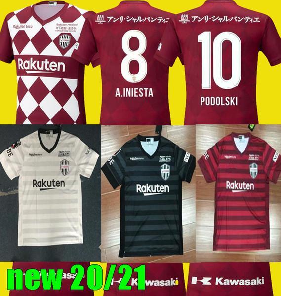 2020 Vissel Kobe camicia rossa PERSONALIZZA 19 20 calcio Jersey 8 Iniesta 7 Mita 10 Podolski camice 2021 di calcio