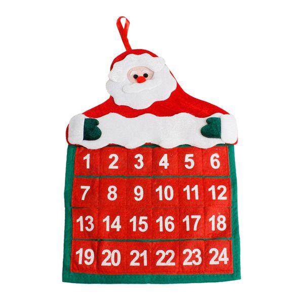 Merry Christmas Xmas Calendar Decorations Santa Claus Calendar Advent Countdown Ornament Hanging Banner Christmas Decorations #L