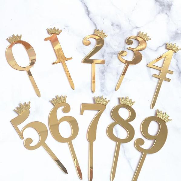 Pastel de plata Número corona la torta de acrílico Carta de oro de la fiesta de cumpleaños aniversario decoración decoración de la boda de la bandera suppllier