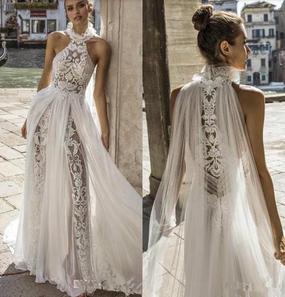 Sexy boho 2019 bohemian vestidos de casamento halter pescoço lace vestidos de noiva delicado a linha boho vestido de noiva vestido de novia special corte