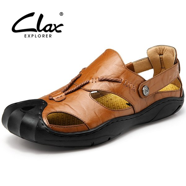 Clax Men Leather Sandals Outdoor 2018 Summer Handmade Shoes for Male Breathable Casual Footwear Slip On Walking Sandals #116148