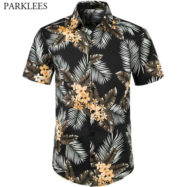 Mens Blouse Male Hawaiian Style Fashion T shirt Short Sleeve Basic Tee Clothing