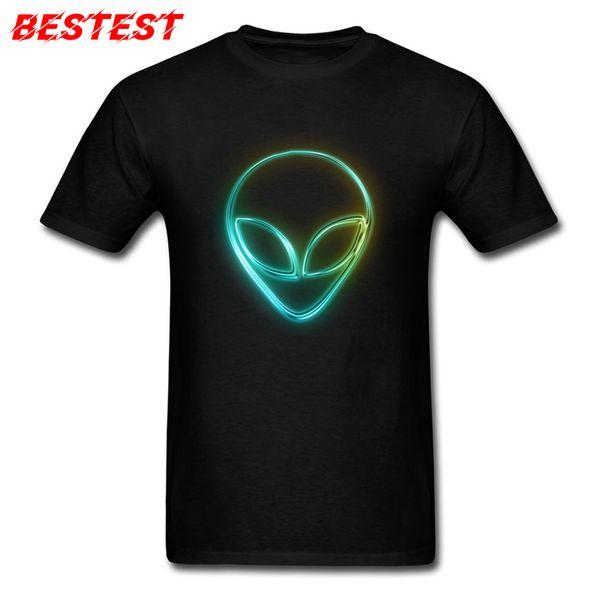 Excelente calidad fábrica auténtica auténtico Compre Cómics Camisetas Alien Neon T Shirt Hombres Camisetas Negras Friki  Diseño De Logotipo Ropa Para Estudiantes 100% Algodón Tops Camisetas ...