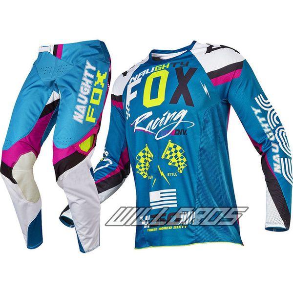 Azul NAUGHTY Motocross Gear Set MX Kits de Moto ATV Sujeira Bicicleta Jersey E Calça Combos Off Road Adulto Corrida Roupas de Moto