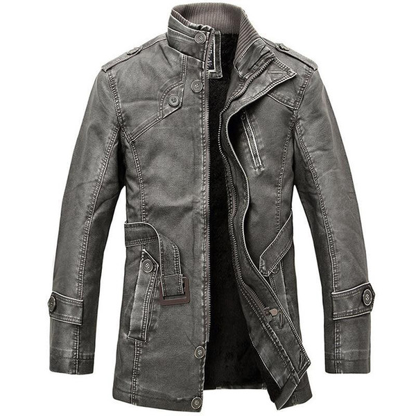 Pu Leather Jacket Men Long Wool Leather Standing Collar Jackets Coat Trench Parka Mens Leather Jackets And Coats