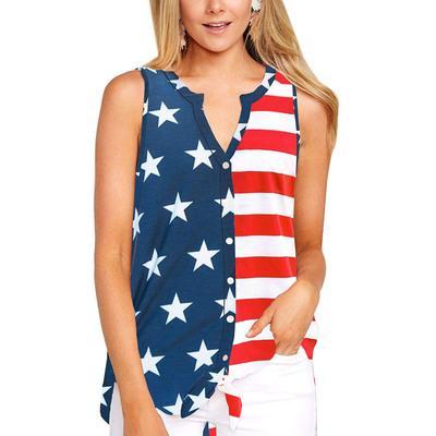 2019 women t shirts Hot summer V Neck American flag pocket print sleeveless T-shirt sexy irregular Button shirts