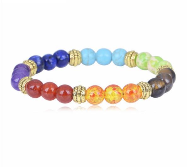 men women Chakra Energy Bracelets Natural Buddha head Lava Stone Bracelets 8mm Colorful Beads Bracelets Yoga Jewelry W93