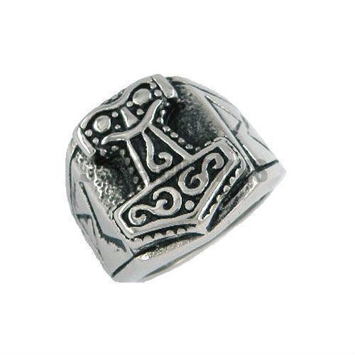 Tribal Symbol Myth Thor Hammer Ring Stainless Steel Jewelry Celtic Knot Ring Norse Viking Motor Biker Men Wholesale