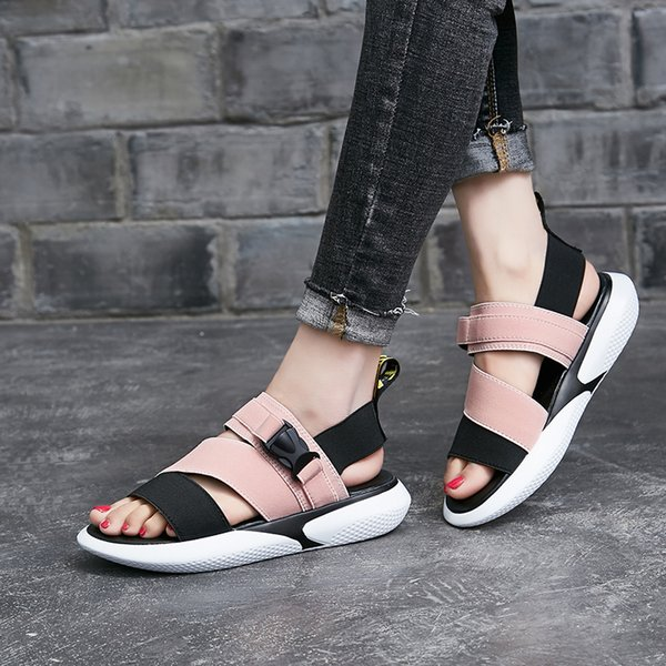 2019 Summer stretch elastic belt explodes edition PU bottom leisure sports wind sandal women's shoes fashion casual flat shoes