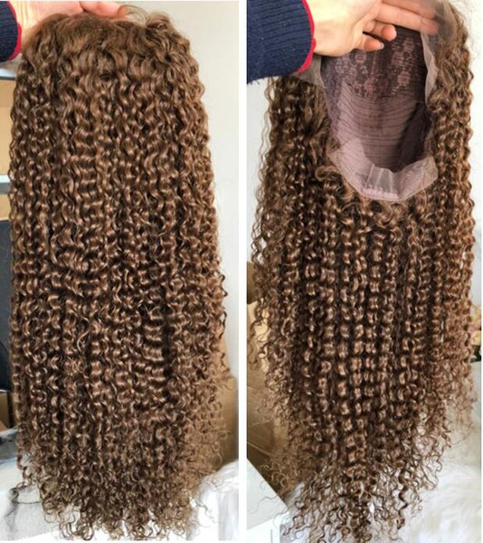 Full Lace Human Hair Body Curl Long Parting Preplucked Hairline Virgin Indian Human Hair Wigs Curly Frontal Lace Wig 13x6 for Black Wome