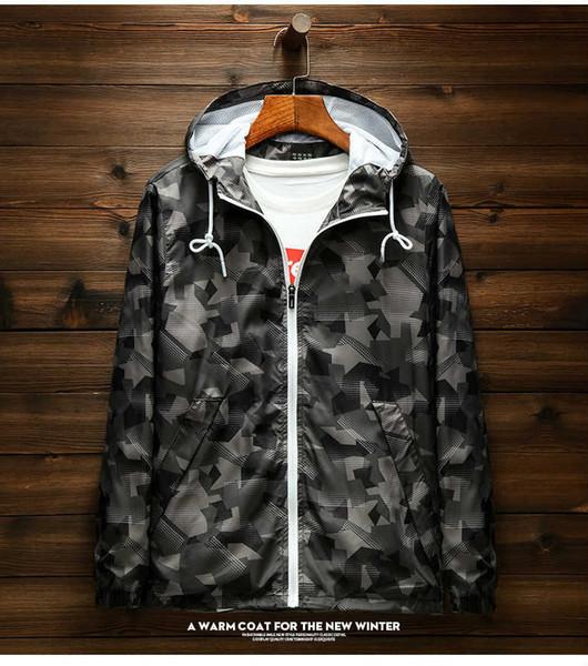 Erkek Tasarımcı Ceketler 2019 Elbise Moda Kamuflaj Rüzgarlık Rahat Spor Üst Gevşek Fermuar Koşu Koşu Ince Sportswear.02