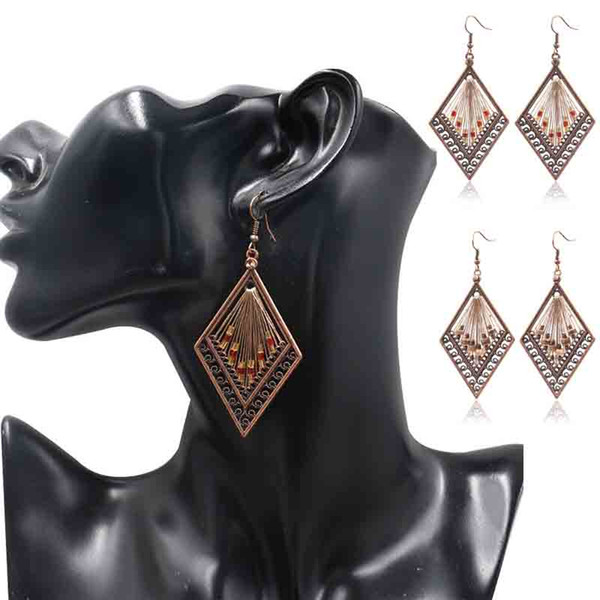 Orecchino di diamanti con ciondolo in lega di oro colorato intrecciato stile bohemien, popolare e europeo di design europeo e americano