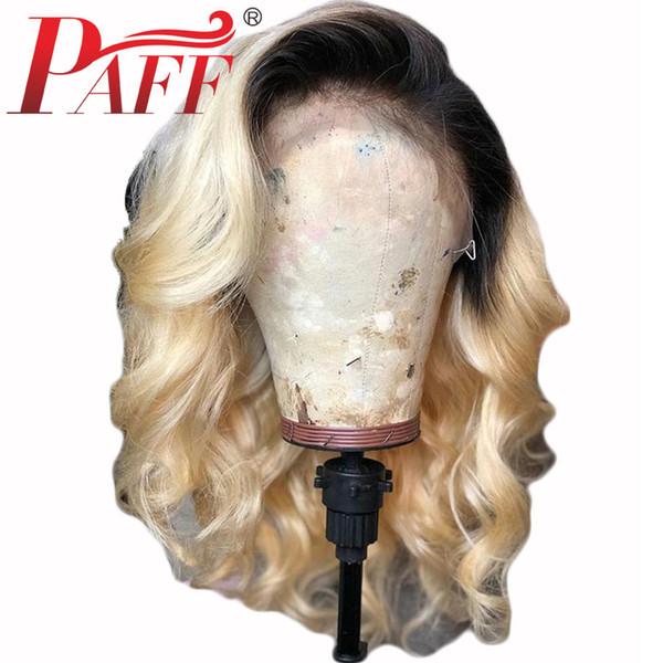 PAFF Dantel Ön Brezilyalı İnsan Saç Peruk 1b613 Siyah Kökleri Ombre Renk Sarışın Peruk 13x6 Remy Saç Vücut dalga Kısa Bob Peruk