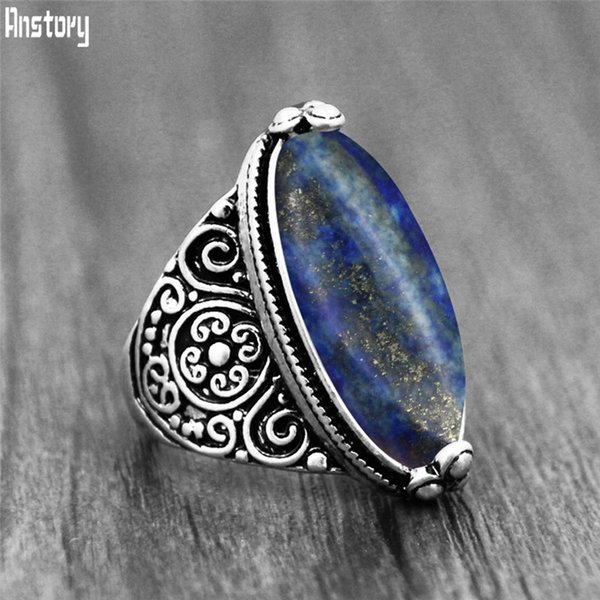 Нерегулярные LAPIS Lazuli Кольца Цветочная Группа Натуральный Камень Античная Посеребренная Мода Ювелирные Изделия TR664 Кольца