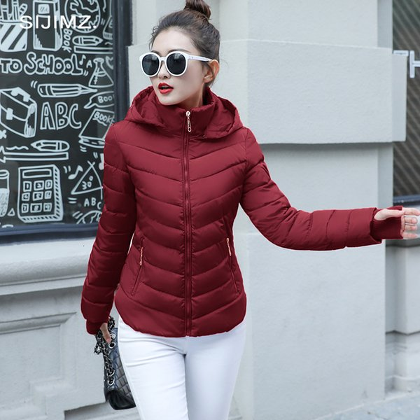 2019 Winter Jacket women Plus Size Womens Parkas Thicken Outerwear solid hooded Coats Short Female Slim Cotton padded basic tops T190829