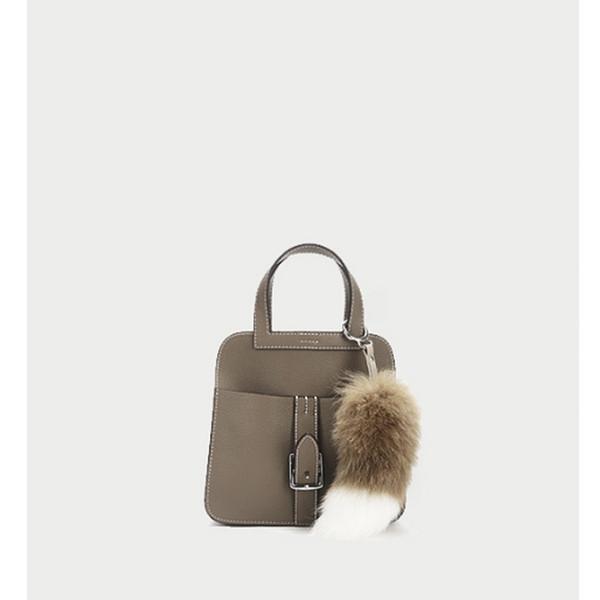 Luxurious2019 Belt Tide Buckle File Package Single Shoulder Messenger Litchi Grain Head Layer Cowhide Handbag Elephant Ash
