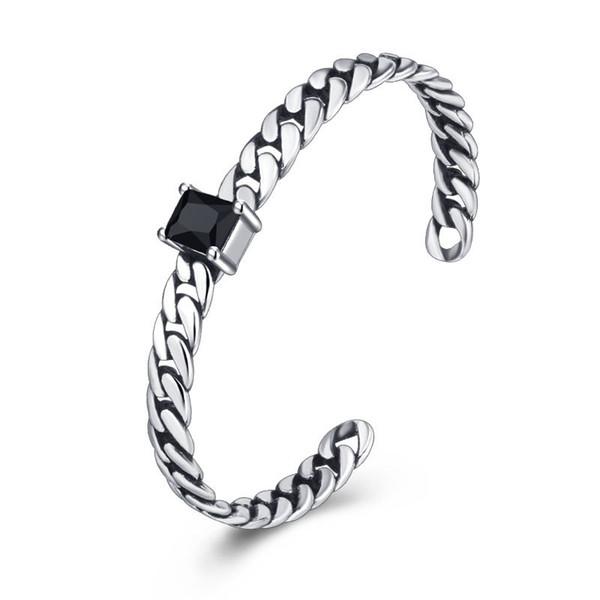 Plata de ley 925 pulsera del encanto Retro Onyx brazalete brazalete de las mujeres pulseras abiertas de cobre ajustable pulseras joyería de moda