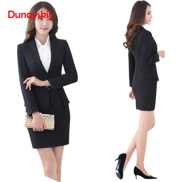 Trajes de falda de mujer de alta calidad Nuevos trajes de moda Ropa de trabajo delgada Oficina para mujer Trajes de manga larga para mujeres con falda