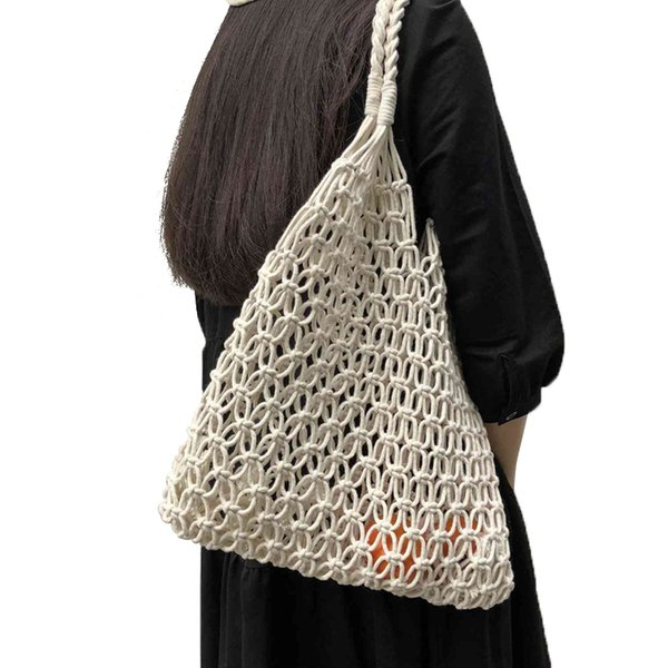 abdb-fashion popular woven bag mesh rope weaving tie buckle reticulate hollow bag no lined net shoulder bag