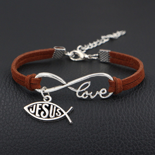 Fashion Custom Infinity Love Jesus Christian Cross Fish Pendant Bangles & Bracelets Brown Leather Suede Rope Bangles For Womens Mens Jewelry