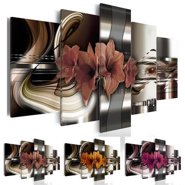 5 Paneller Metal Çiçekler Boyama Mor Çiçek Yağı Resimleri Salon Dekorasyon Resimleri Tuval Wall Art No Frame (Çerçevesiz)