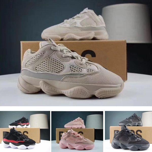 Enfants Chaussures Kanye West 500 Sel Utilitaire Noir Rose Blush Desert Rat Infant Chaussures de course Bébé Garçon Fille Enfant Enfants 500 Baskets