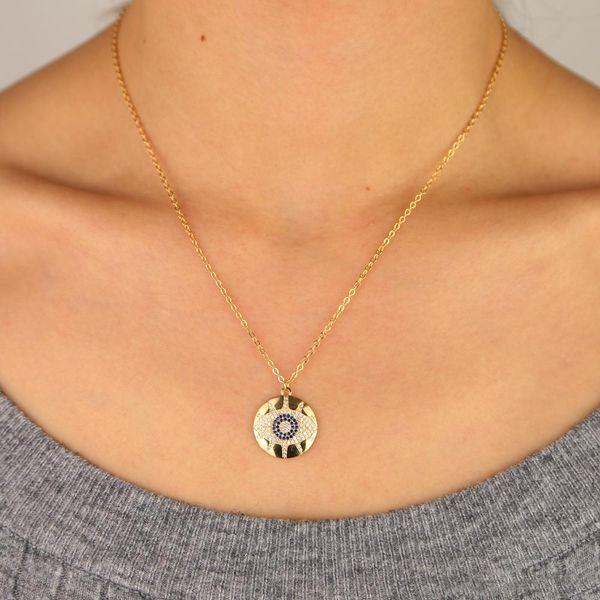 Gold plated round disco charm micro pave cz engraved evil eye eyelash turkish bohemia fashion necklace
