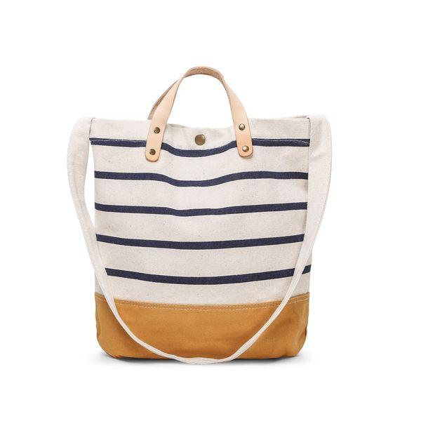 Fashion Canvas Unisex Stripe Messenger Bag Women High Quality Shoulder Tote Bags Girls Clear Shopping Bag Daily School Handbag