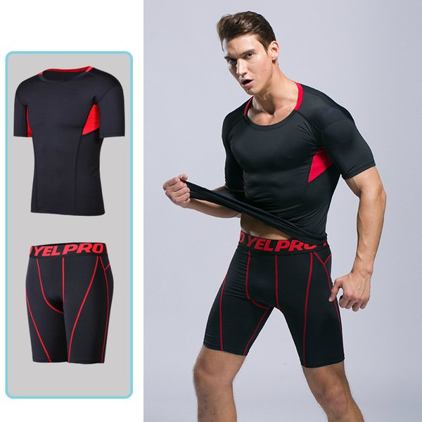 New quick-drying men's sports and fitness set tight-fitting PRO compression clothing running training short-sleeved perspiration