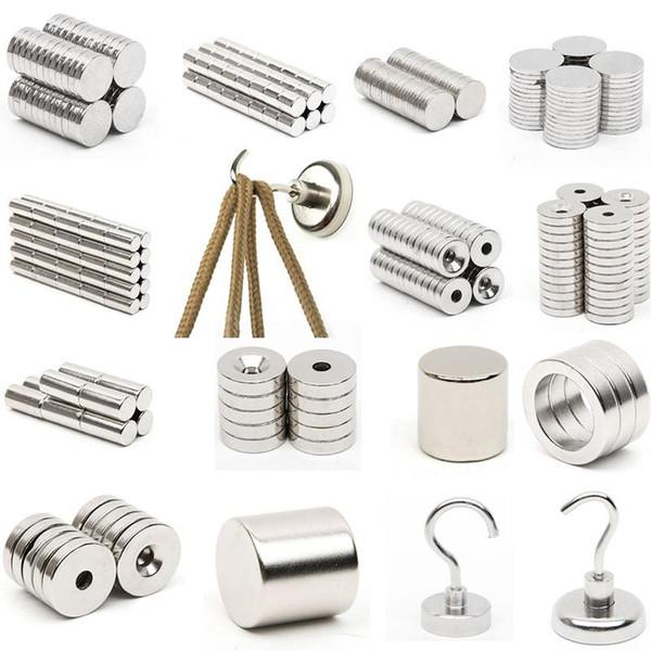1pcs N52 Mini Strong Magnet Neodymium Round Disc Square Block Rare Earth Magnet and Hook Fridge Magnets calamita