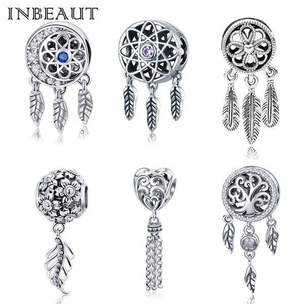 100% auténtico S925 Dream Net Lucky Feather Charm fit Pandora pulsera 925 plata esterlina Vintage flor corazón colgante de perlas