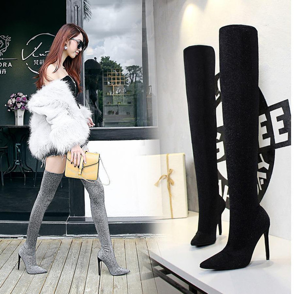 Lucky2019 Black Silver Sexy Sequins Cloth Long Boots Designer Nightclubs Slim Stiletto Super Hot-heeled Pointed Toe Over The Knee Boots125-1