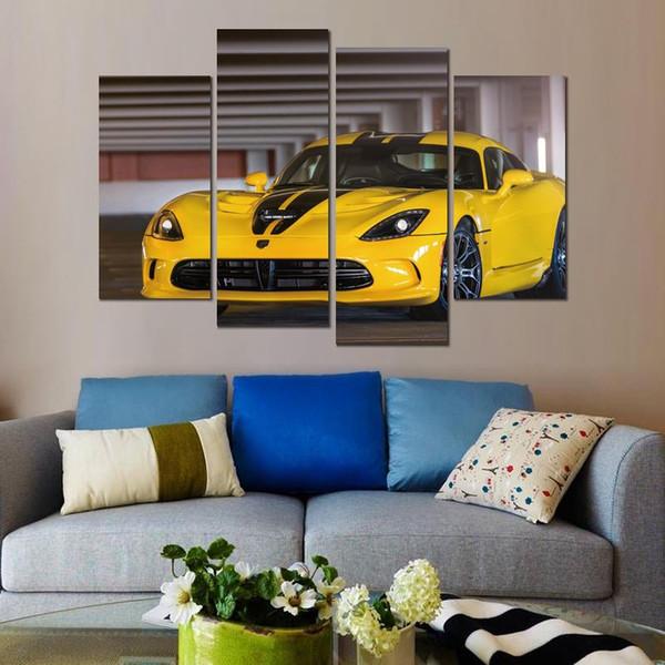 4 sets dodge viper srt gts canvas print arts pictures for dining room decor