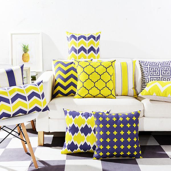 Yellow And Blue Cushion Cover Modern Decorative Throw Pillow Case For Sofa  Chaise Lounge Geometric Cojines Stripe Funda Cojin Lawn Chair Cushions ...