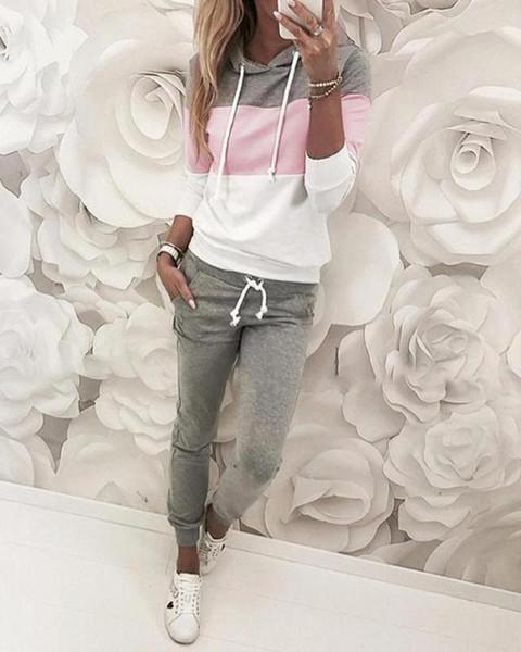 Coulisse design Colorblock Maglia con cappuccio Pant Imposta Donna 2 pezzi abiti casual autunno Tute
