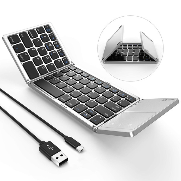 Foldable Bluetooth Keyboard, Dual Mode USB Wired & Bluetooth Keyboard with Touchpad Rechargeable for Android,iOS,Windows Tablet Smartphone