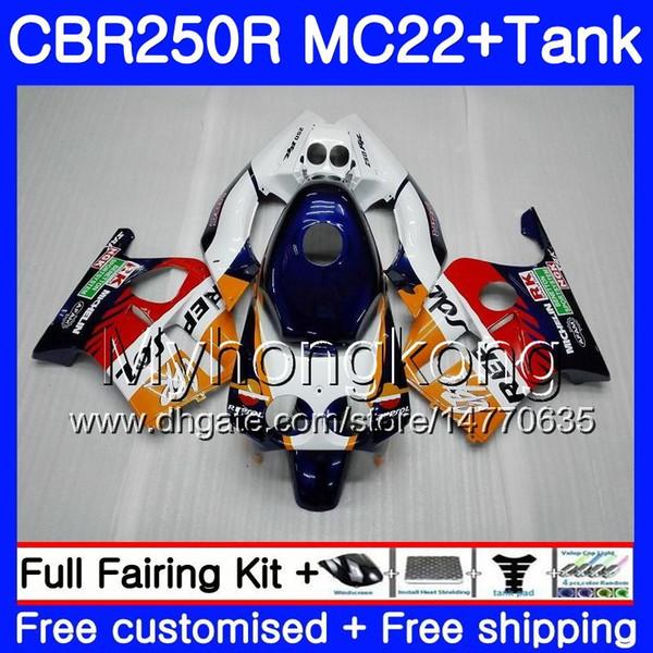 Injection +Repsol orange Tank For HONDA CBR 250RR CBR250RR 90 91 92 93 94 263HM.10 MC22 CBR 250 CBR250 RR 1990 1991 1992 1993 1994 Fairing