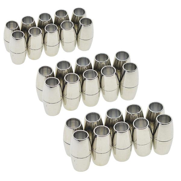 30 Set Barrel Magnetic Clasp Connettore Fibbia Cord End Cap Gioielli Fare risultati per DIY Kumihimo Bracciale Collana 4/5 / 6mm
