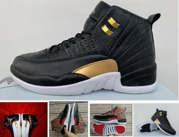 Yeni stil 12 GS yılan nesil Siyah Kahverengi Kırmızı erkekler basketbol ayakkabı 12 s erkek yılan derisi Renkli spor tasarımcısı sneakers ABD 7-13