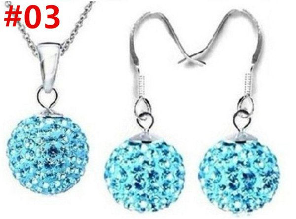 Jewelry Earrings Necklace Three-Piece Set 10mm Full Diamond Ball O Chain Chain Crystal Ear Hook Necklace Wholesale Preferred Gift