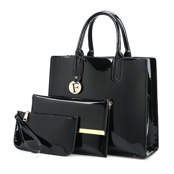 3 Set Handbag tote For Women Made Of High Quality Patent Leather Ladies Shoulder bag With 4 Colors Female Fashion Tote Drop Shipping