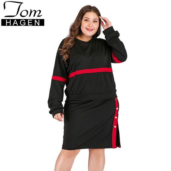 Summer Fashion Fat MM Sets Womens Two Piece Sets Skirt Split Plus Size Long Sleeve Sweat Suit Women 2 Pieces Red Stripe Set