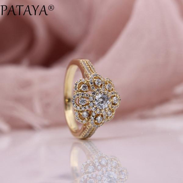 PATAYA الجديد البتلة مايكرو الشمع البطانة الدائري أزياء المرأة زفاف فاخر مجوهرات نوبل الجميلة 585 روز الذهب الأبيض الطبيعي الزركون خواتم