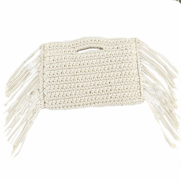Tassels Hand Held Handmade Cotton Rope Hollow Out Woven Fringe Bag Trend Women'S Woven Handbag Straw Bag For Ladies(White)