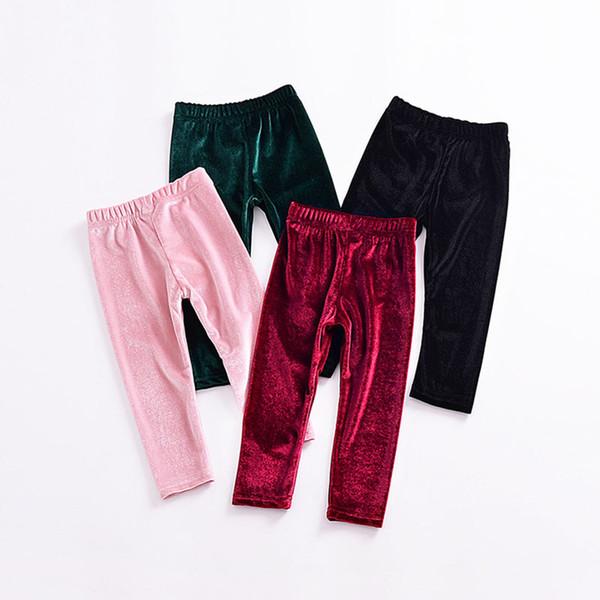 girls Gold velvet pants INS Leggings children Trousers 2018 new fashion Tights kids Boutique Clothing C3647